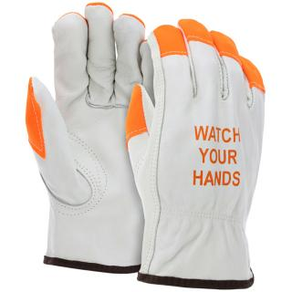 MCR Leather Hi-Vis Driver Work Glove
